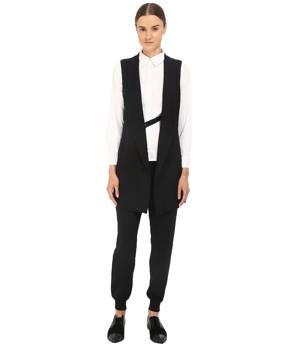 Y's by Yohji Yamamoto - Sleeveless Gabardine Blazer Jacket (Black) Women's Jacket