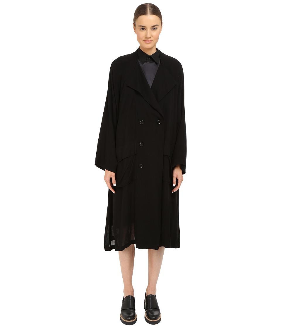 Y's by Yohji Yamamoto - Double Breasted Raglan Jacket (Black) Women's Coat