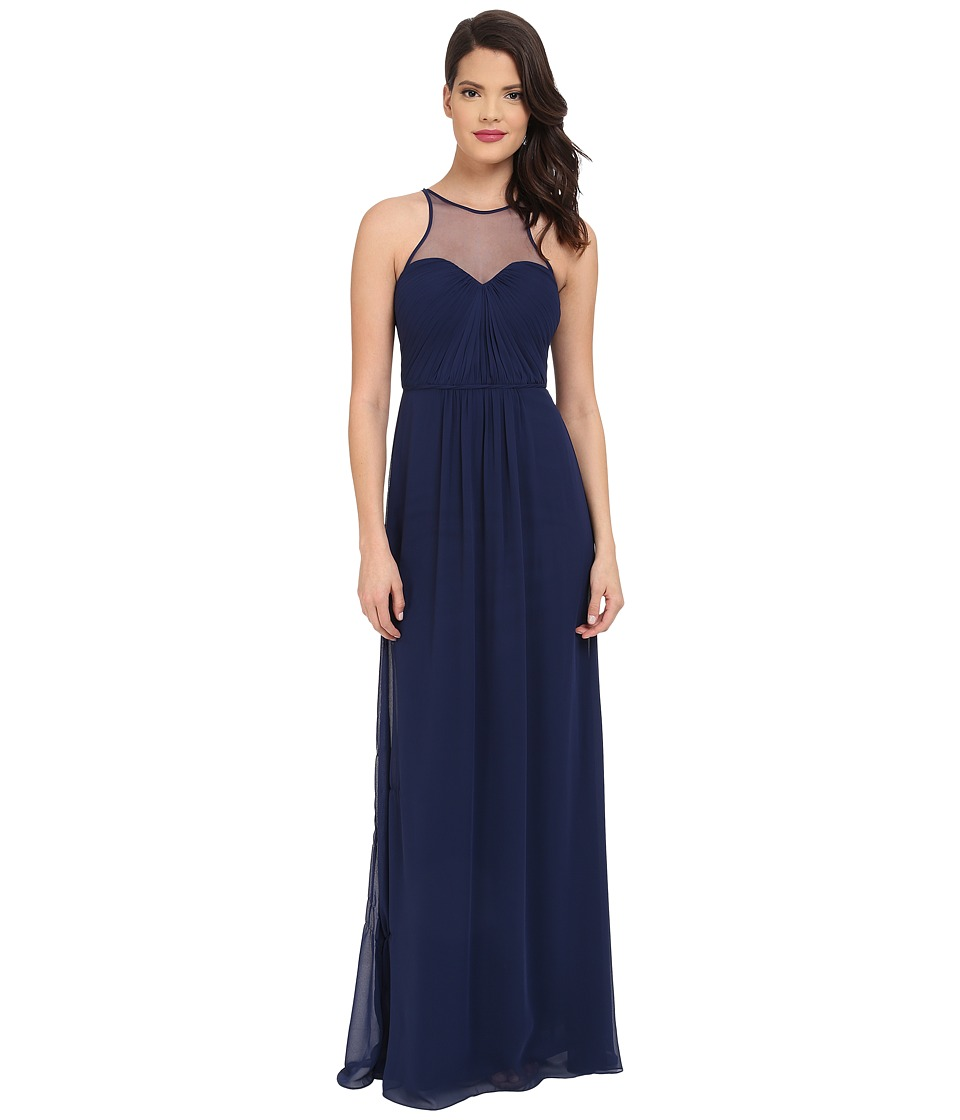 Faviana - Chiffon Gown with Illusion Sweetheart Neckline/Rouched Bodice Keyhole Back 7774 (Navy) Women's Dress