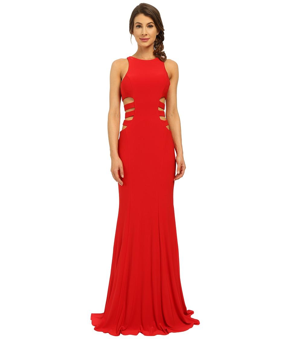 Faviana - Jersey Gown w/ Side Cut Outs 7820 (Red) Women's Dress