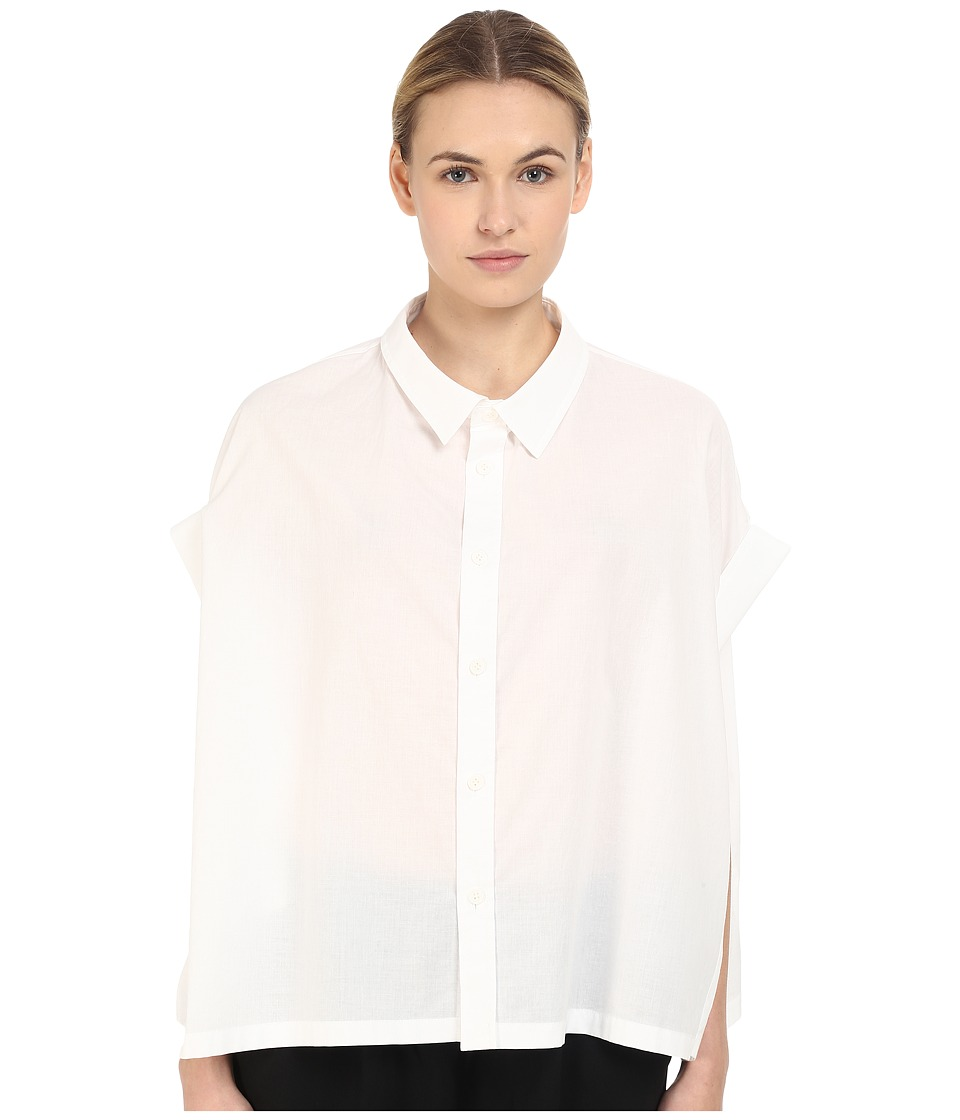 Y's by Yohji Yamamoto - Roll Sleeve Button Up (White) Women's Blouse