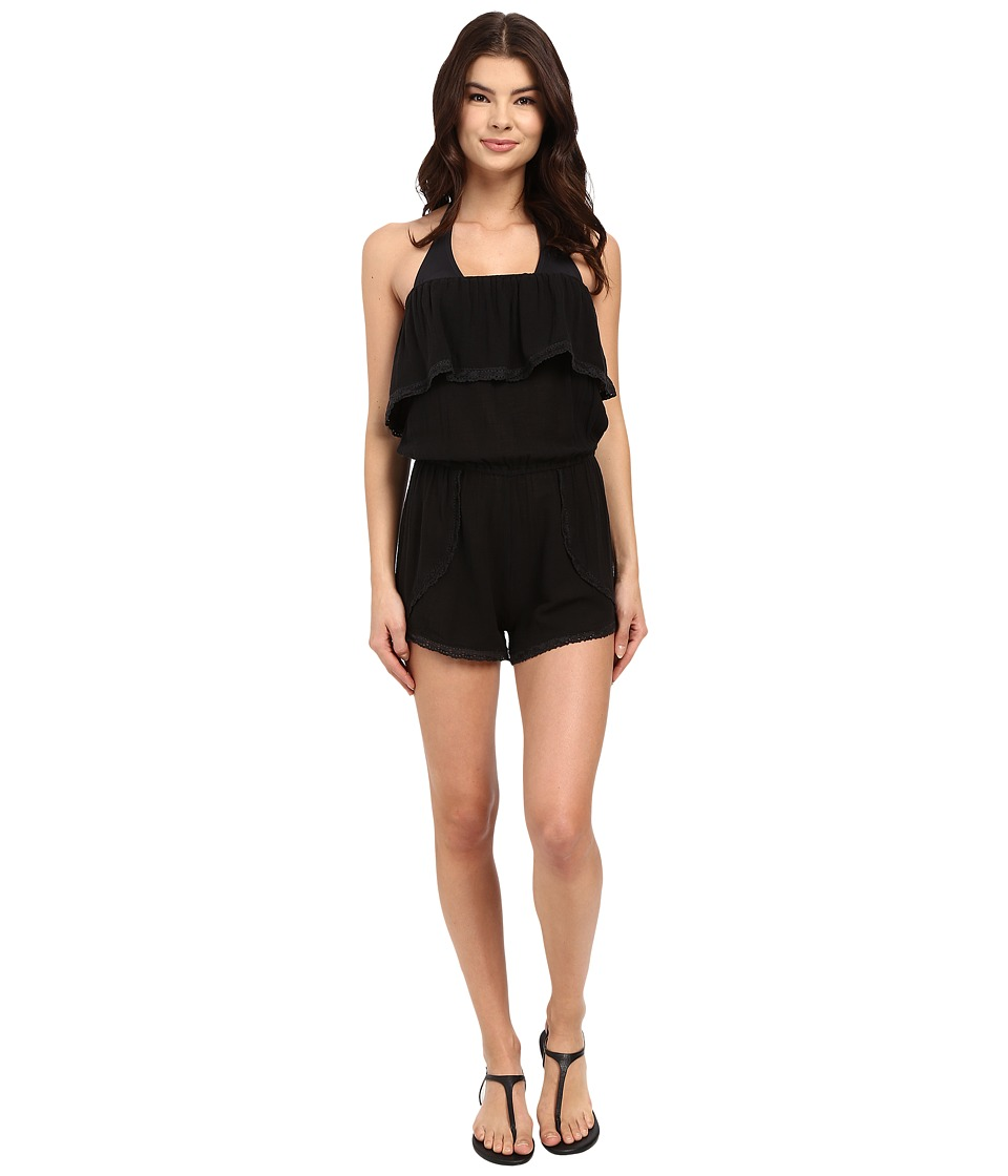 Billabong - Behind the Sun Romper Cover-Up (Black) Women's Swimsuits One Piece