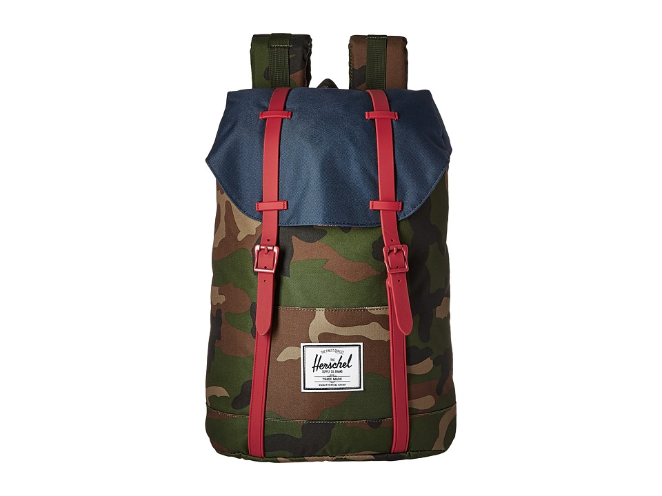 Herschel Supply Co. - Retreat (Woodland Camo/Navy/Red Rubber) Backpack Bags