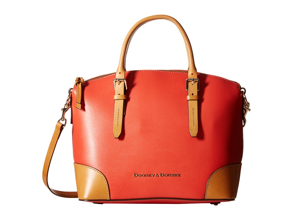 Dooney & Bourke - Claremont Domed Satchel (Geranium w/ Butterscotch Trim) Satchel Handbags