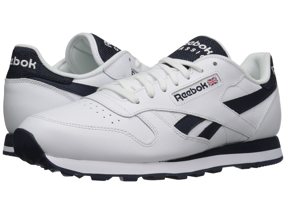 Reebok Lifestyle - Classic Leather Pop SC (White/Collegiate Navy) Men's Classic Shoes