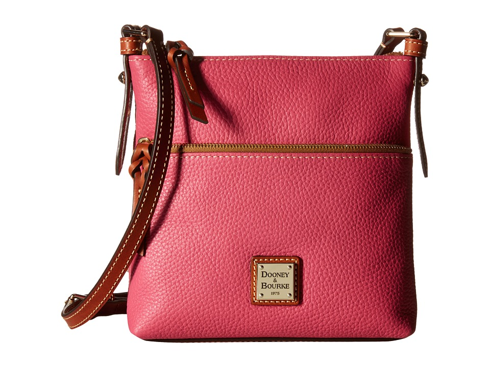 Dooney & Bourke - Pebble Letter Carrier (Hot Pink w/ Tan Trim) Cross Body Handbags