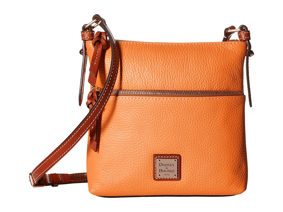 Dooney & Bourke - Pebble Letter Carrier (Melon w/ Tan Trim) Cross Body Handbags