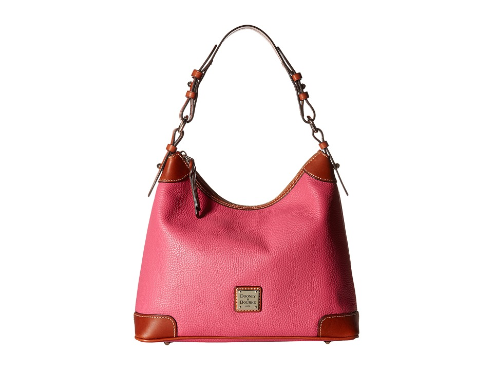 Dooney & Bourke - Pebble Hobo (Hot Pink w/ Tan Trim) Hobo Handbags