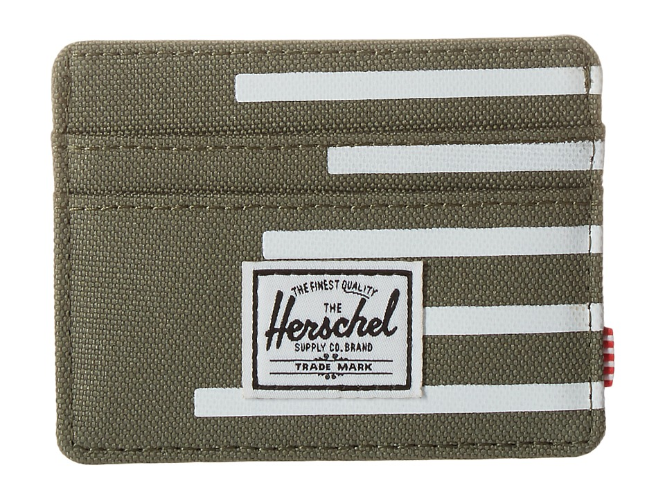 Herschel Supply Co. - Charlie (Deep Lichen Green/Blanc de Blanc Stripes) Credit card Wallet