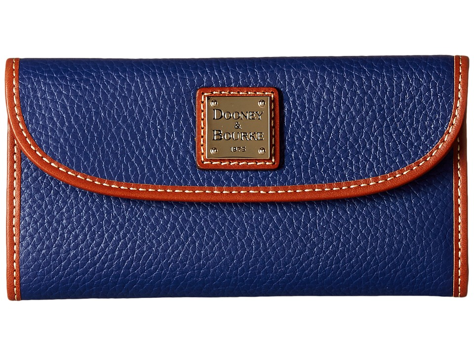 Dooney & Bourke - Pebble Continental Clutch (Cobalt w/ Tan Trim) Clutch Handbags