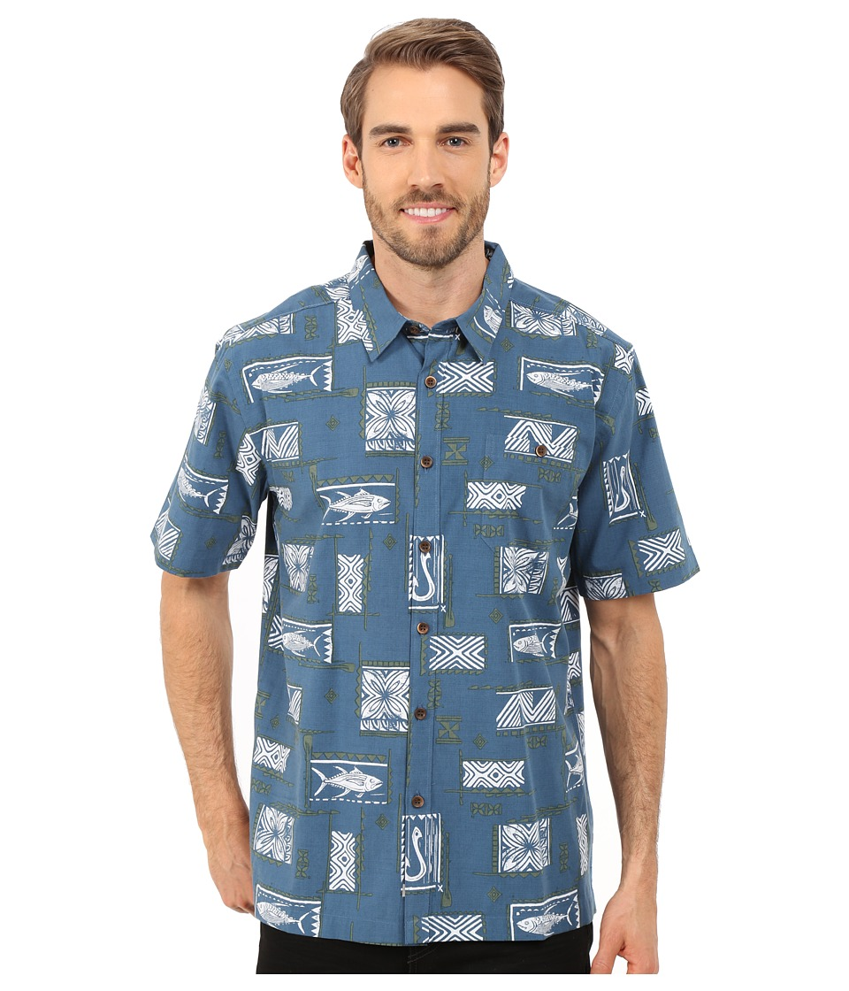 Quiksilver Waterman - Secret Cove Woven Shirt (Real Teal) Men's Short Sleeve Button Up