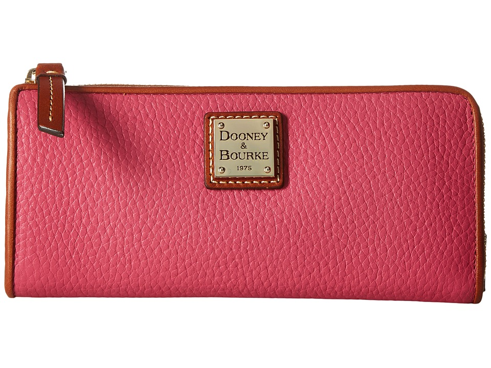 Dooney & Bourke - Pebble Zip Clutch (Hot Pink w/ Tan Trim) Clutch Handbags
