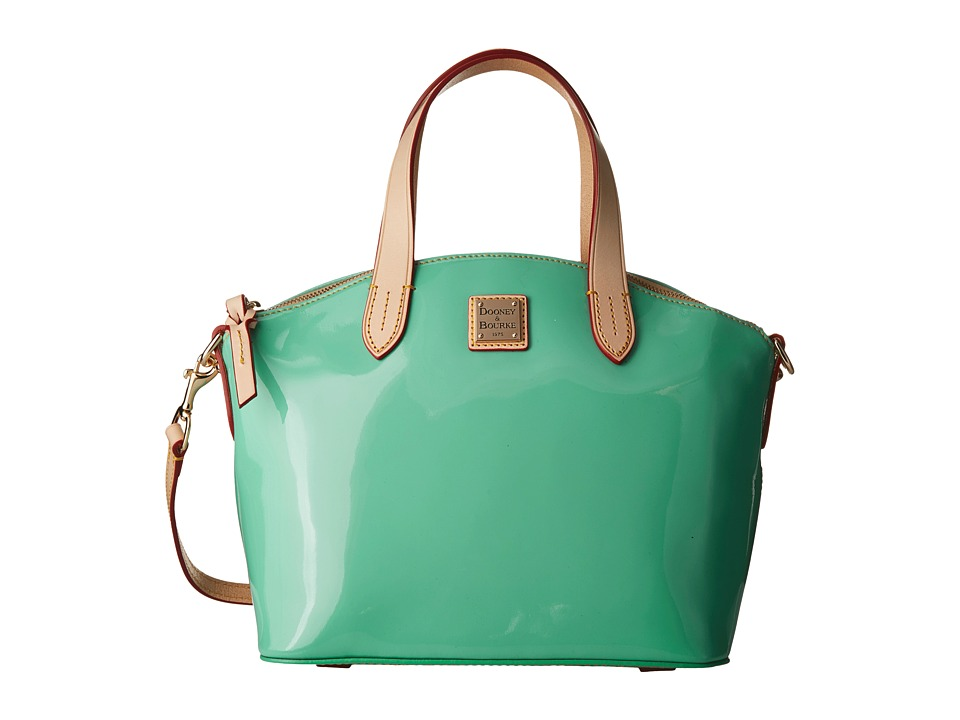 Dooney & Bourke - Pebble Patent Small Satchel (Celery w/ Natural Trim) Satchel Handbags