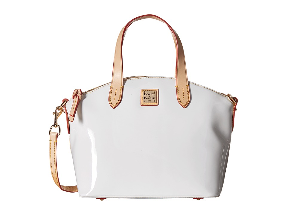Dooney & Bourke - Pebble Patent Small Satchel (White w/ Natural Trim) Satchel Handbags