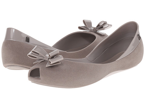 Melissa Shoes - Queen (Grey Flocked) Women's Flat Shoes
