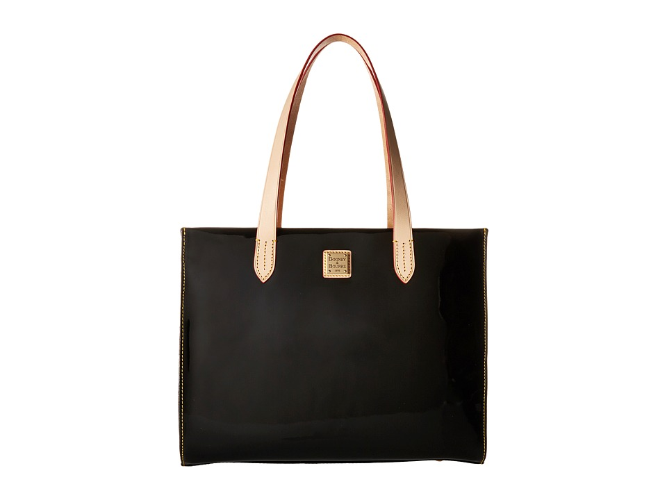Dooney & Bourke - Pebble Patent Shopper (Black w/ Natural Trim) Handbags