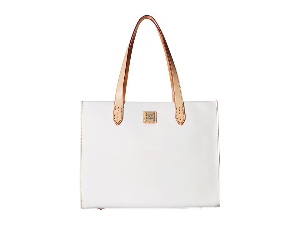 Dooney & Bourke - Pebble Patent Shopper (White w/ Natural Trim) Handbags