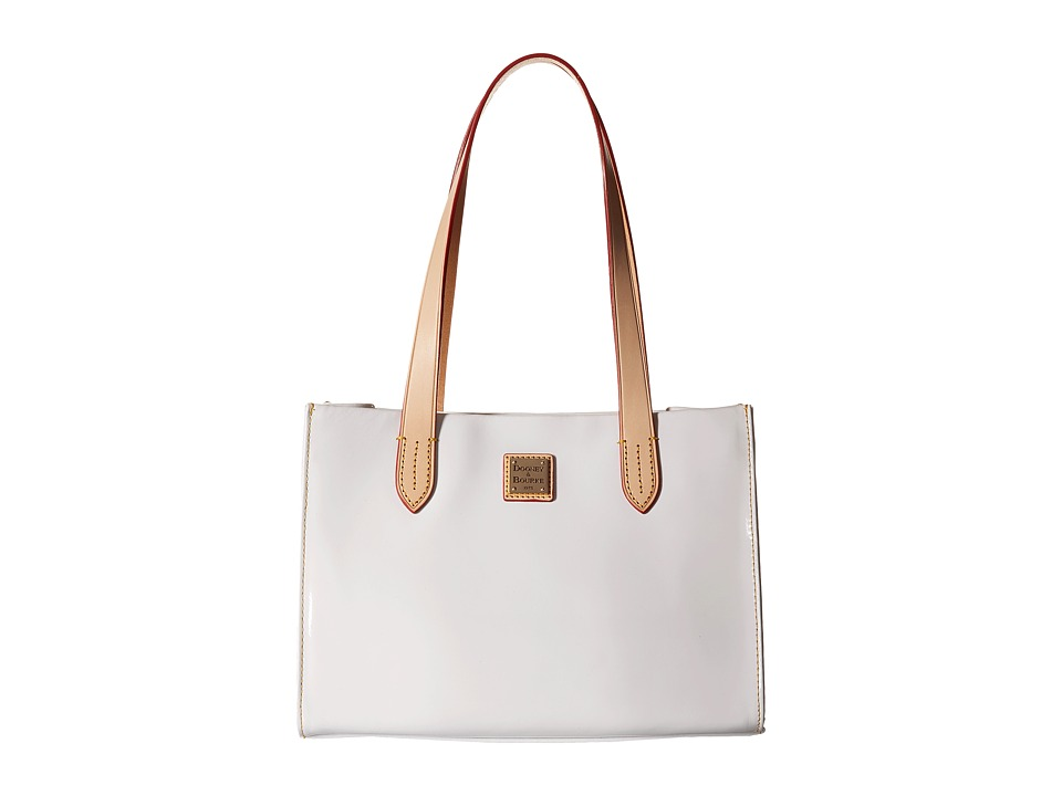 Dooney & Bourke - Pebble Patent Small Shopper (White w/ Natural Trim) Handbags