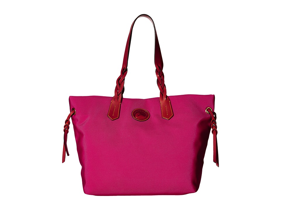 Dooney & Bourke - Nylon Shopper (Pink w/ Tan Trim) Tote Handbags