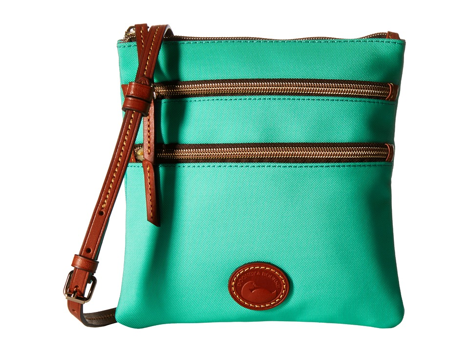 Dooney & Bourke - Nylon North/South Triple Zip (Mint w/ Tan Trim) Cross Body Handbags