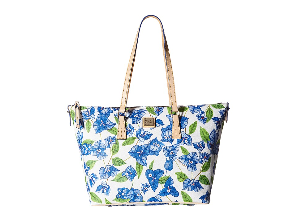 Dooney & Bourke - Bougainvillea Zip Top Shopper (Blue w/ Natural Trim) Shoulder Handbags