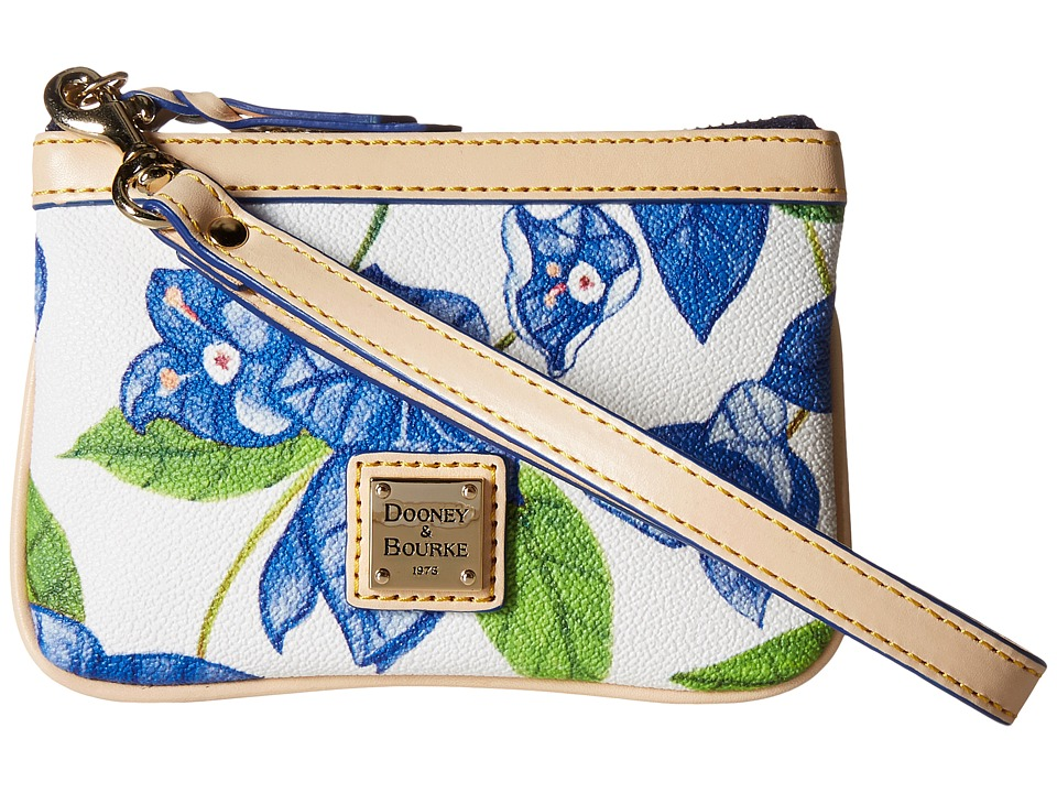 Dooney & Bourke - Bougainvillea Medium Wristlet (Blue w/ Natural Trim) Wristlet Handbags