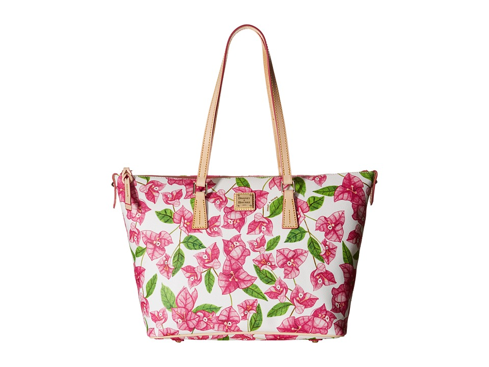 Dooney & Bourke - Bougainvillea Zip Top Shopper (Fuchsia w/ Natural Trim) Shoulder Handbags