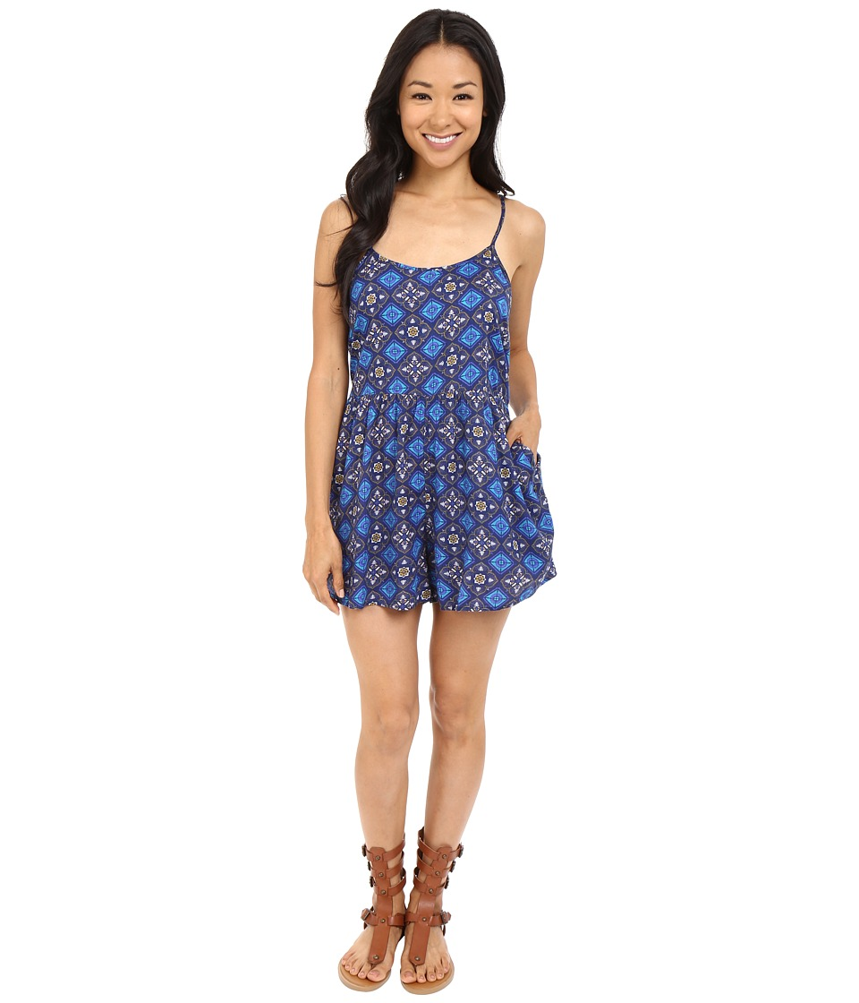 Roxy - Slippery Slopes Romper (Flower Square Combo/Eclipse) Women's Jumpsuit & Rompers One Piece