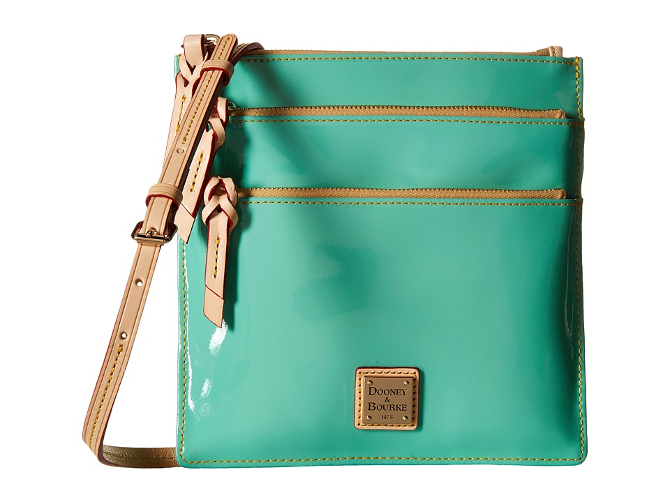 Dooney & Bourke - Pebble Patent North South Triple Zip (Celery w/ Natural Trim) Cross Body Handbags