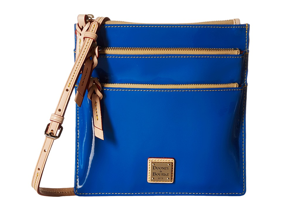 Dooney & Bourke - Pebble Patent North South Triple Zip (Ocean w/ Natural Trim) Cross Body Handbags