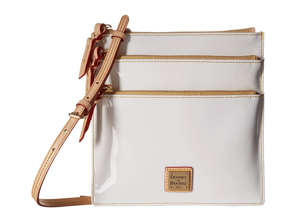 Dooney & Bourke - Pebble Patent North South Triple Zip (White w/ Natural Trim) Cross Body Handbags