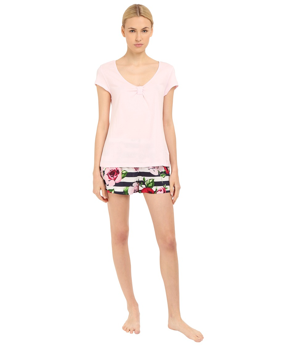 Kate Spade New York - Knit Top w/ Woven Bottom Shorts PJ (Rose Stripe) Women's Pajama Sets