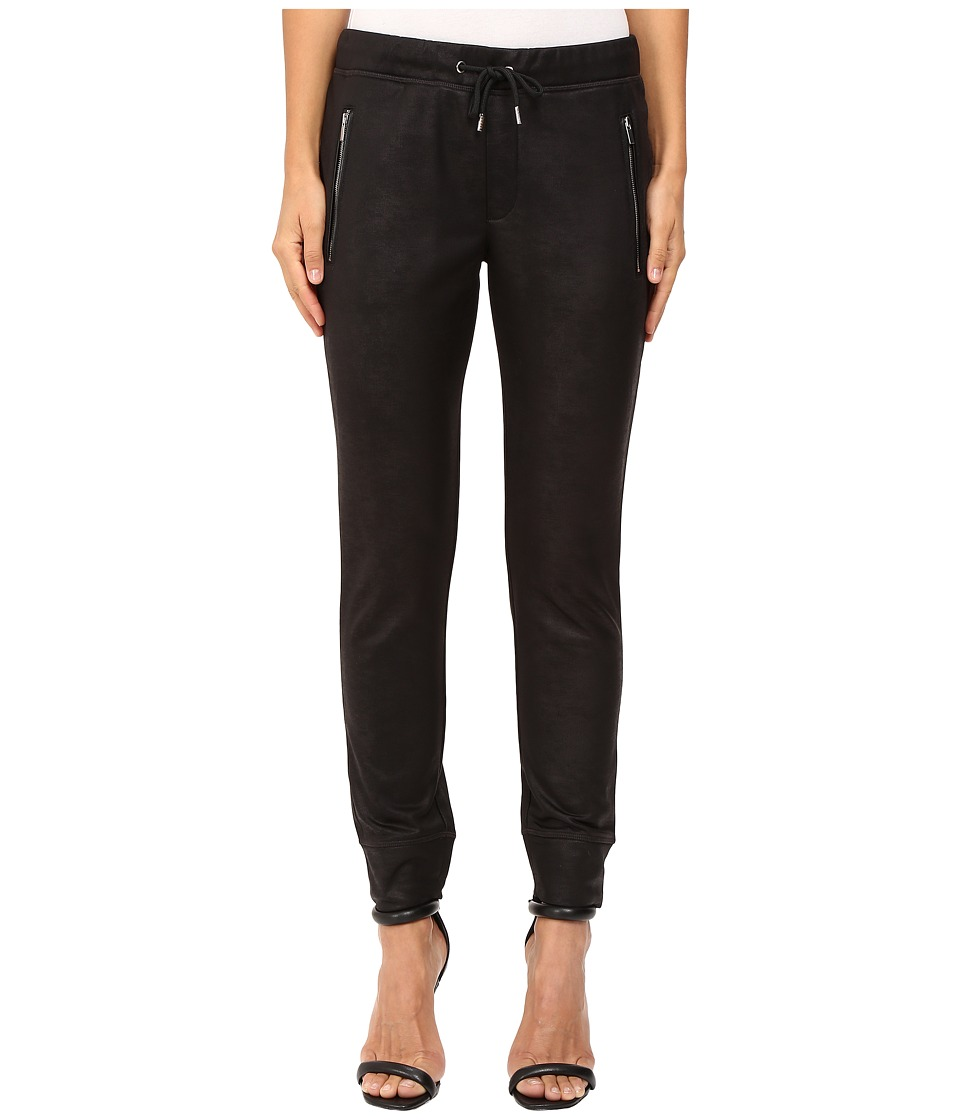 The Kooples - Box Jogging Trousers in Coated Fleece (Black 1) Women's Casual Pants