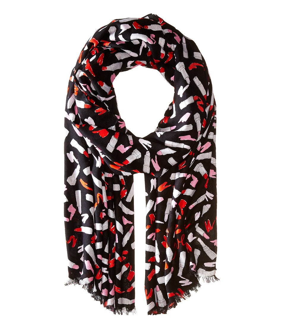Kate Spade New York - Lipstick Palette Oblong Scarf (Black) Scarves