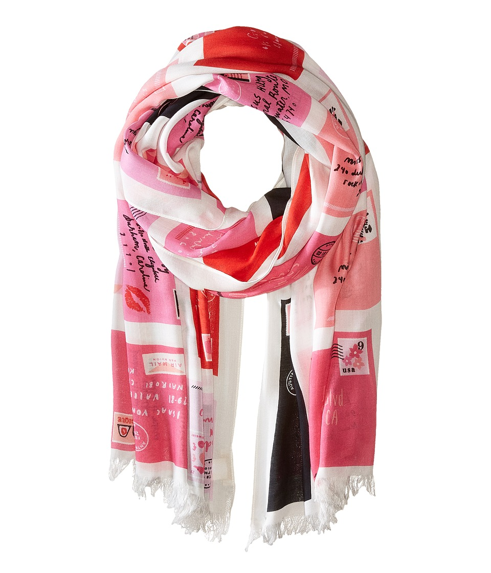 Kate Spade New York - Love Letters Oblong Scarf (Valentine Pink) Scarves