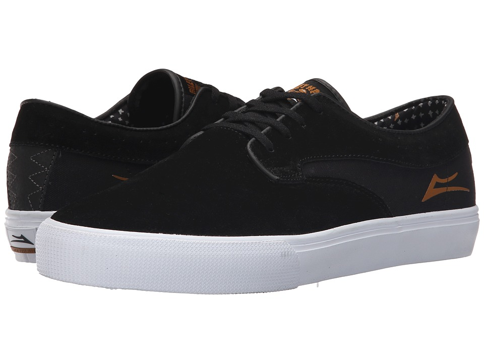 Lakai - Riley Hawk (Black/Gold Suede) Men's Skate Shoes