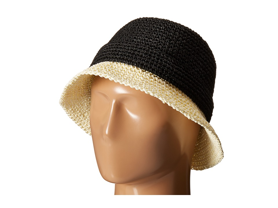Kate Spade New York - Crochet Packable Cloche Hat (Black/Natural) Caps