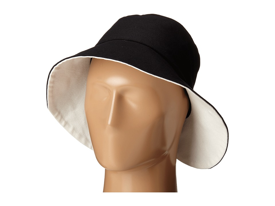 Kate Spade New York - Split Back Floppy with Self Bow Hat (Black/Fresh White) Caps