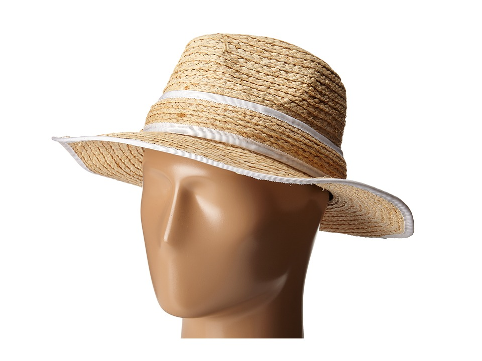 Kate Spade New York - Fedora with Binding (Natural/White) Fedora Hats