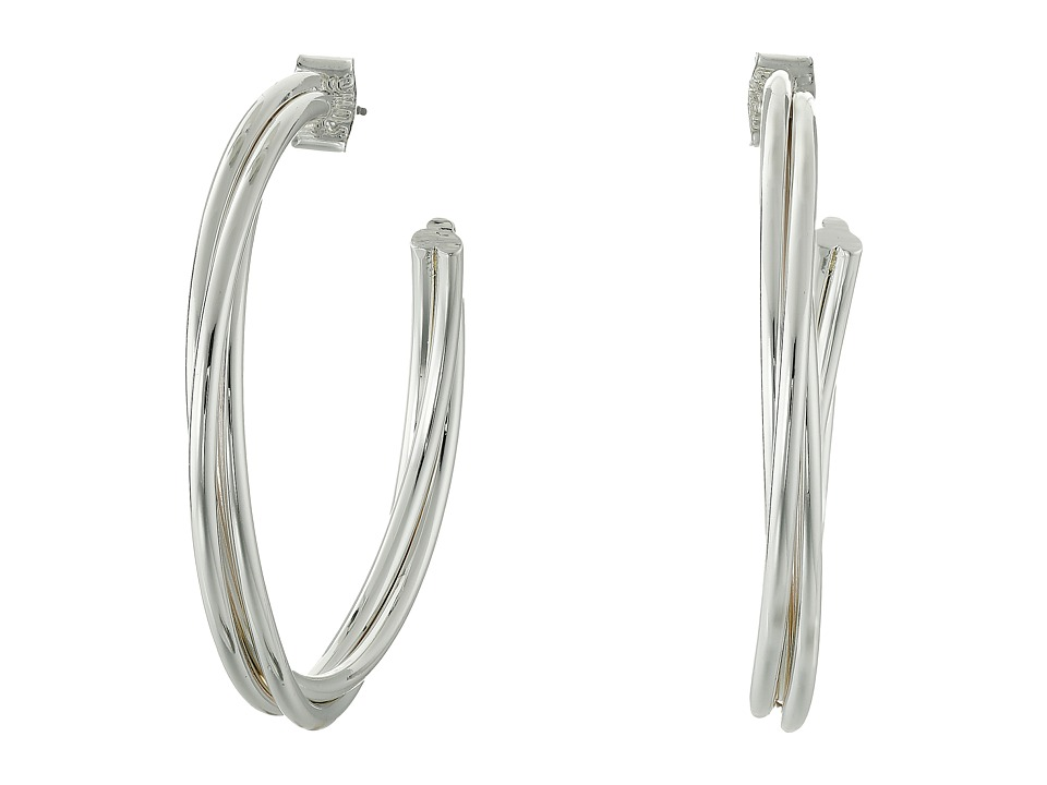 Robert Lee Morris - Silver Twist Hoop Earrings (Shiny Silver) Earring