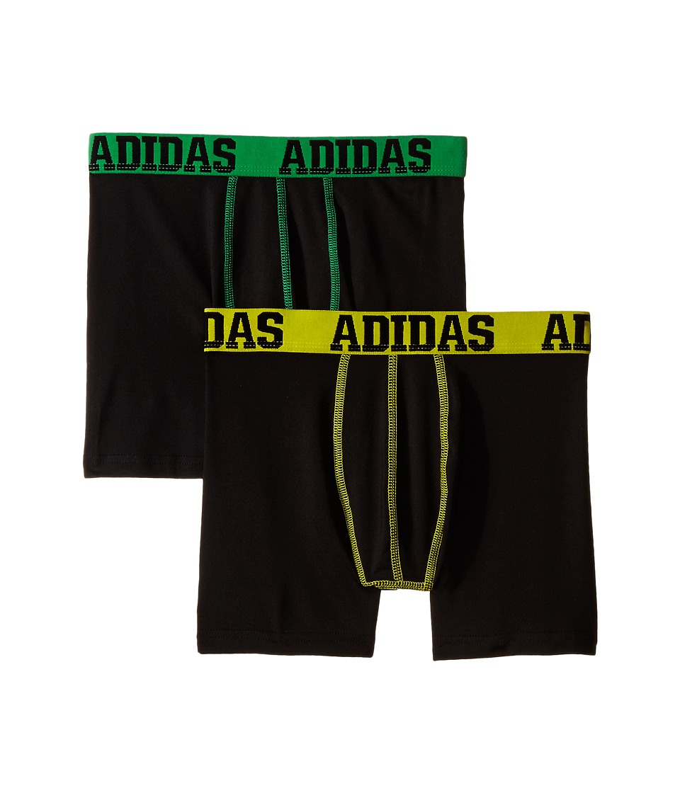 adidas Kids - Sport Performance Climalite 2-Pack Boxer Brief (Big Kids) (Black/Solar Lime/Black/Solar Yellow) Boy's Underwear