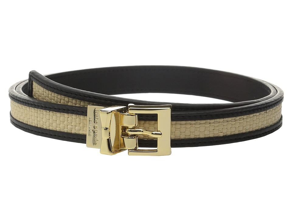 Kate Spade New York - 20mm Straw Reversible Belt (Black/Natural Straw) Women's Belts