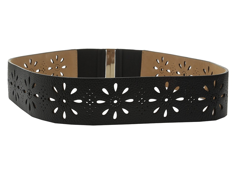 Kate Spade New York - 50mm Daisy Perforated Belt (Black) Women's Belts
