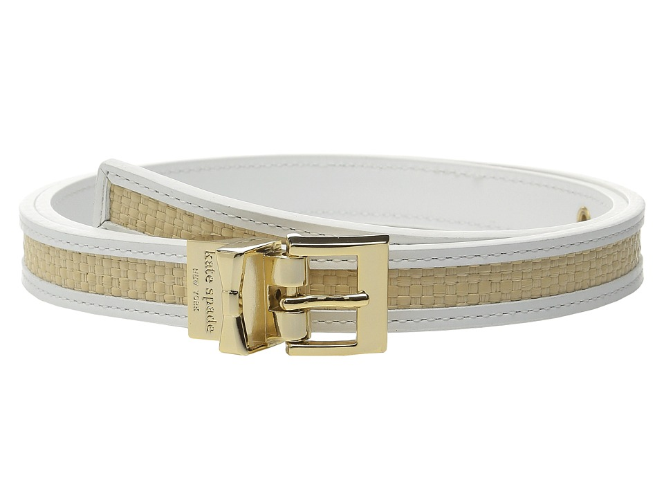 Kate Spade New York - 20mm Straw Reversible Belt (White/Natural Straw) Women's Belts