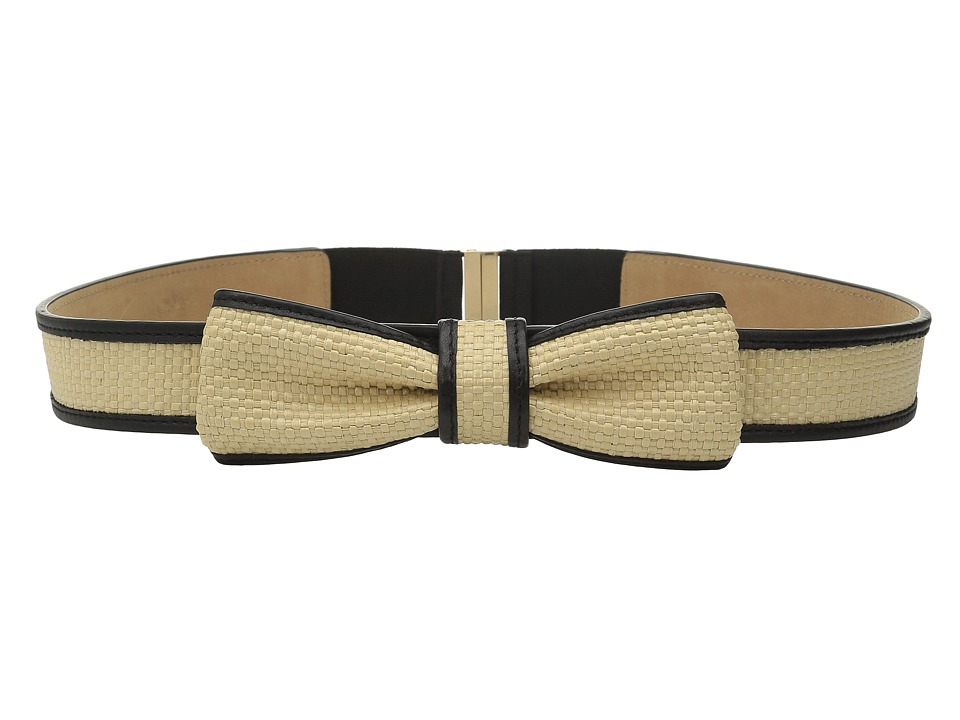 Kate Spade New York - 32mm Straw Bow Belt (Black/Natural Straw) Women's Belts