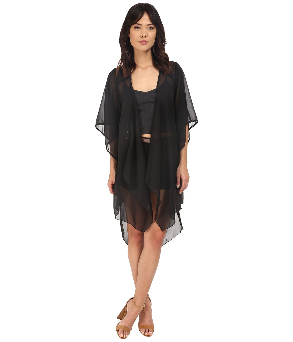 BCBGeneration - Bella Solid Kimono (Black) Women's Blouse