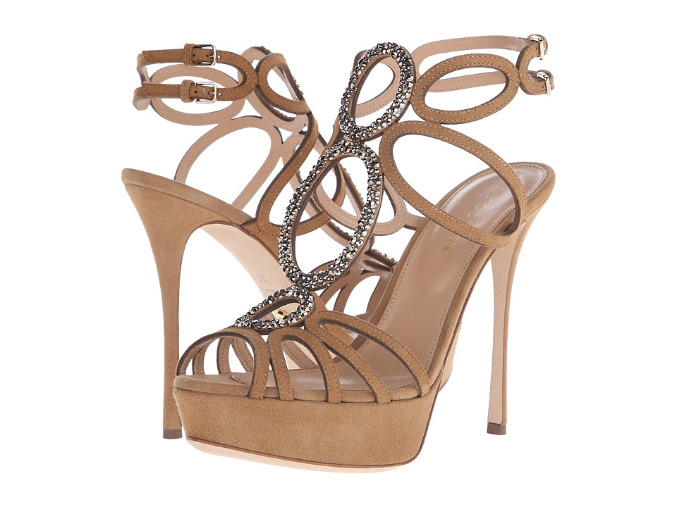 Sergio Rossi - Farrah (Honey Cream Suede Strass) High Heels