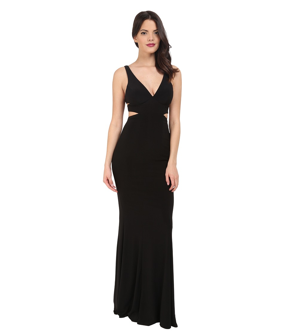 Faviana - Jersey V-Neck Side Out 7541 (Black) Women's Dress