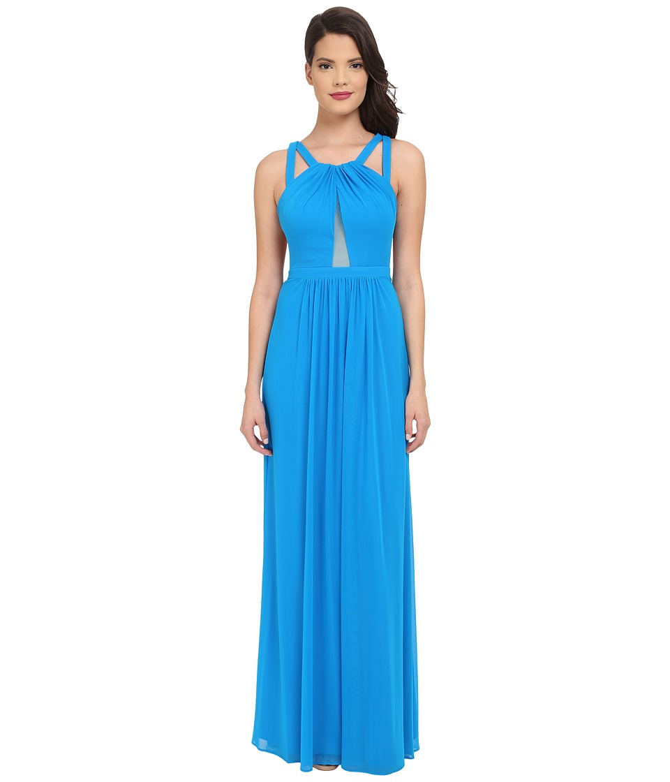 Faviana - Mesh Gown with Illusion Center Front 7741 (Laguna Blue) Women's Dress