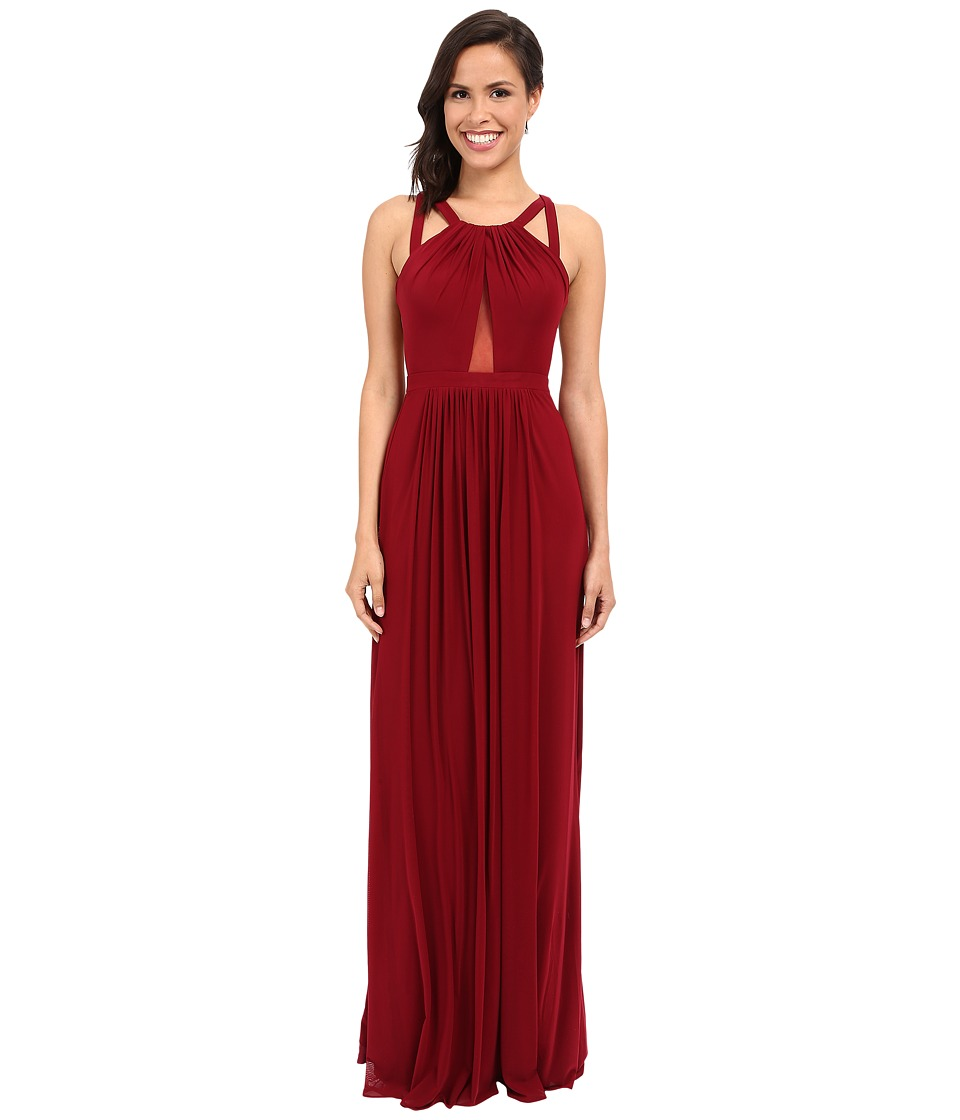 Faviana - Mesh Gown with Illusion Center Front 7741 (Merlot) Women's Dress